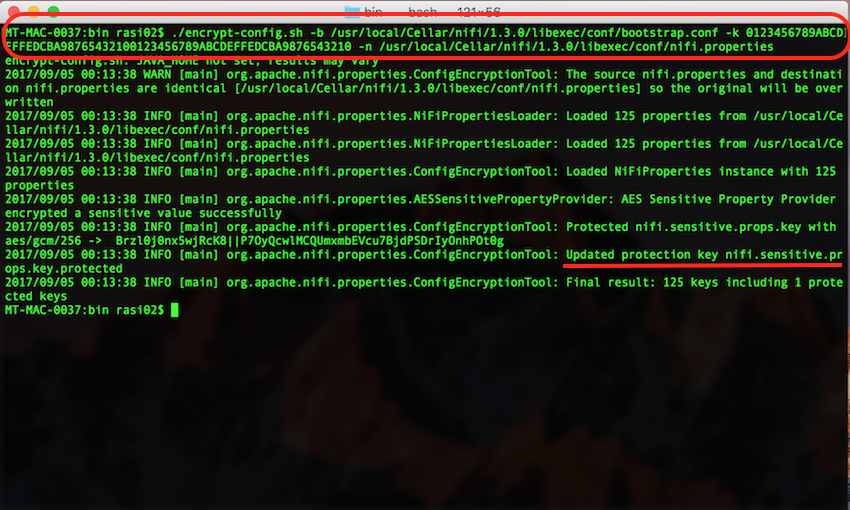 Running encrypt-config.sh utility
